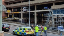 Part of NCP car park collapses in Nottingham city centre