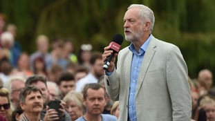 Jeremy Corbyn speaks at a rally in Milton Keynes.