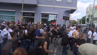 Scuffles broke out as the two sides clashed