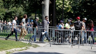 Free Speech rally goers were escorted from the area by police.