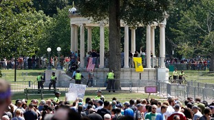The right-wing rally centred on a bandstand on Boston Common.