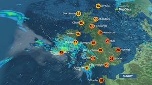 The east of England will enjoy the top temperatures on Sunday.