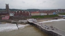 Cromer was reported to be in 'lockdown' last night after youths ran amok in the town