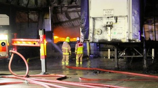 Lorries were caught up in the blaze too
