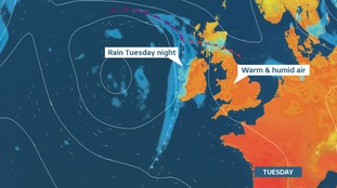 Warm and humid into Tuesday.  Dry weather replaced by rain from the west