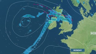 Rain moves NE during Monday, introducing ex-tropical warm and moist airmass for Tuesday