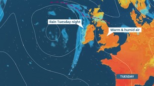 Cloduy but warm Tuesday.  Rain from the west into midweek will eventually freshen the air
