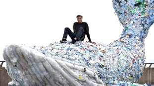 10-metre plastic whale unveiled in Cardiff