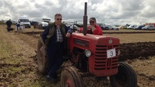 Vintage tractors taking part in the ploughing match