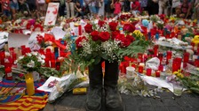 Tributes to the dead have been left on Las Ramblas.