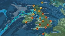 Weather: Rain in northwest, bright and warm elsewhere