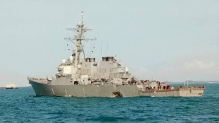The USS John S McCain after the collision