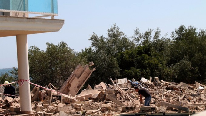 The ruins of the rented house in Alcanar.