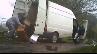 Fly-tipper smacked in the face by bags rubbish he was trying to dump