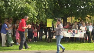 Protestors staged a vigil outside Seaton Hospital in East Devon today.