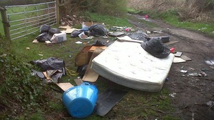 Humpage dumped items including a mattress on a country road in Walsall.