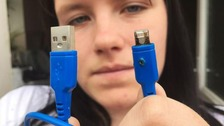 Teenager terrified after new phone charger catches fire