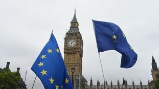 EU flags in London.