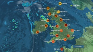 Rain in northwest, elsewhere dry and humid