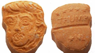Ecstasy tablets with Donald Trump's face on.