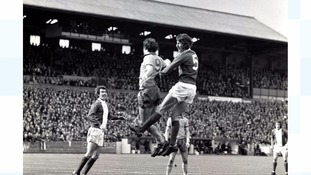 Bill Green (No5) playing against Everton in First Division