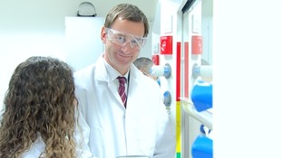 Health Secretary, Jeremy Hunt at a research lab in Surrey