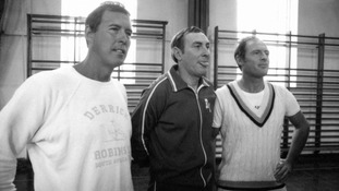 Geoffrey Boycott (right) with fellow cricketer John Hampshire (left) and manager Ray Illingsworth in 1979.