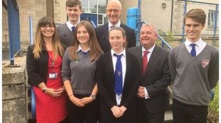 Headteacher Susan Oliver, Jim Swinney and Cllr David Park with pupils today