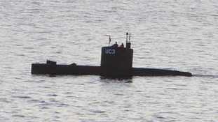 The submarine sank off Denmark's coast.