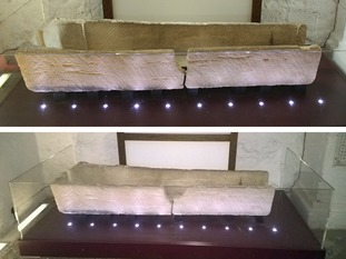 800-year-old coffin before (top) and after (bottom) it was damaged