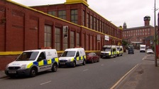 Police search of industrial unit on Cobden Street, Salford
