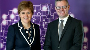 First Minister Nicola Sturgeon and Finance Secretary Derek Mackay during their visit to life sciences business, Aquila Biomedical,