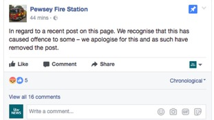 The fire station issued an apology for their post.