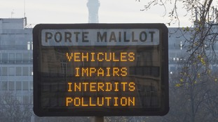 A sign barring some cars in Paris during a peak in air pollution in 2016.