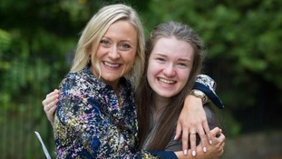 Head of Drama Ms Esther Roberts and student Gigi D. celebrate Gigi's 100% A*/A