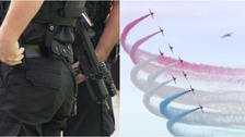Armed police patrol the airshow across both days.