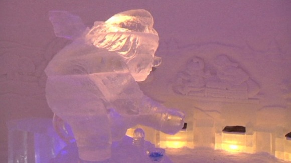 A troll ice sculpture