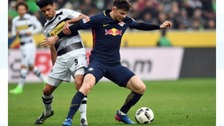 Oliver Burke playing for Red Bull Leipzig.