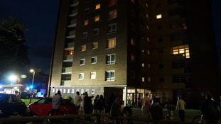 A woman was treated for the effects of breathing in smoke in the fire in the block of flats in Bedford.