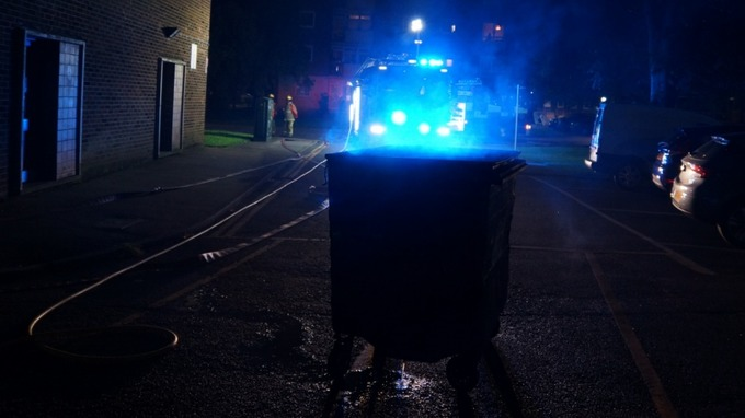 The fire was discovered in a rubbish bin area on the ground floor and is thought to be accidental.