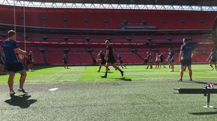 Hull FC on the pitch at Wembley this morning