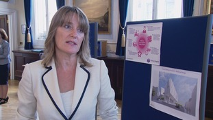 Helen O'Shea speaking at a briefing about the future hospital.