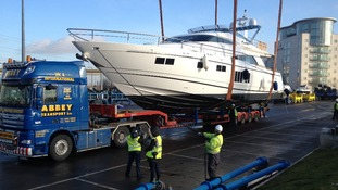Superyacht on its way to London Boat Show.