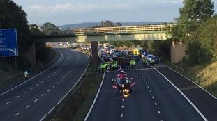 air ambulance lands on M5