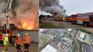 Cambridgeshire firefighters help tackle two major blazes
