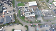 An aerial view of the Grantham fire