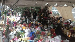 This is the memorial in the heart of Sandy Hook where they stood for a minute's silence