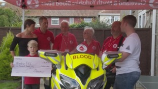 The blood bike is handed over to the charity