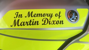 Martin's name is inscribed on the bike