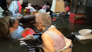 Elderly residents at a flooded care home in Dickinson.